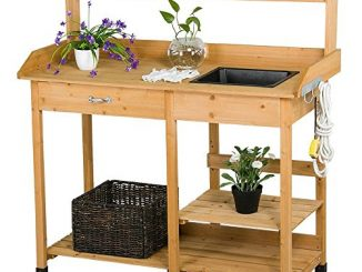 Topeakmart Outdoor Garden Potting Bench Potting Tabletop wit...