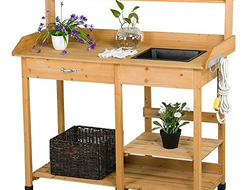 Topeakmart Outdoor Garden Potting Bench Potting Tabletop wit...