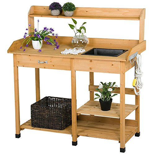 Topeakmart Outdoor Garden Potting Bench Potting Tabletop wit…