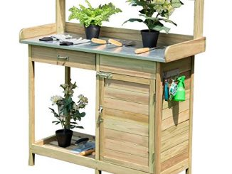Giantex Potting Bench Table for Outside Natural Wood Garden ...